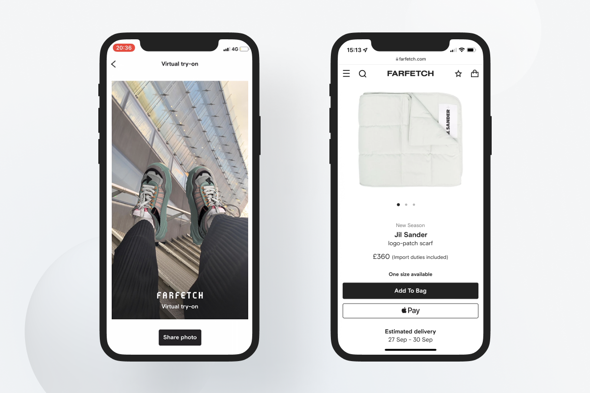Two screenshots of Farfetch mobile app and mobile version of the website.