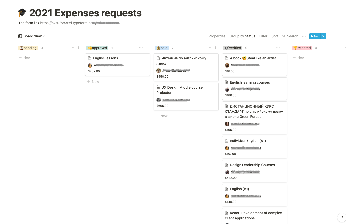 A Kanban board with the requests for education